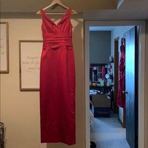 Maroon David's Bridal dress